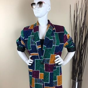 Vintage Abstract Squares Oversized Blazer